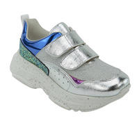 Sneakers Plata Con Detalles Multicolor 020871