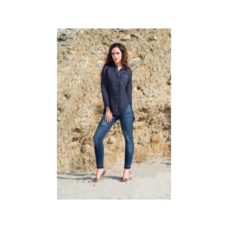 Blusa azul mezclilla manga larga 012504