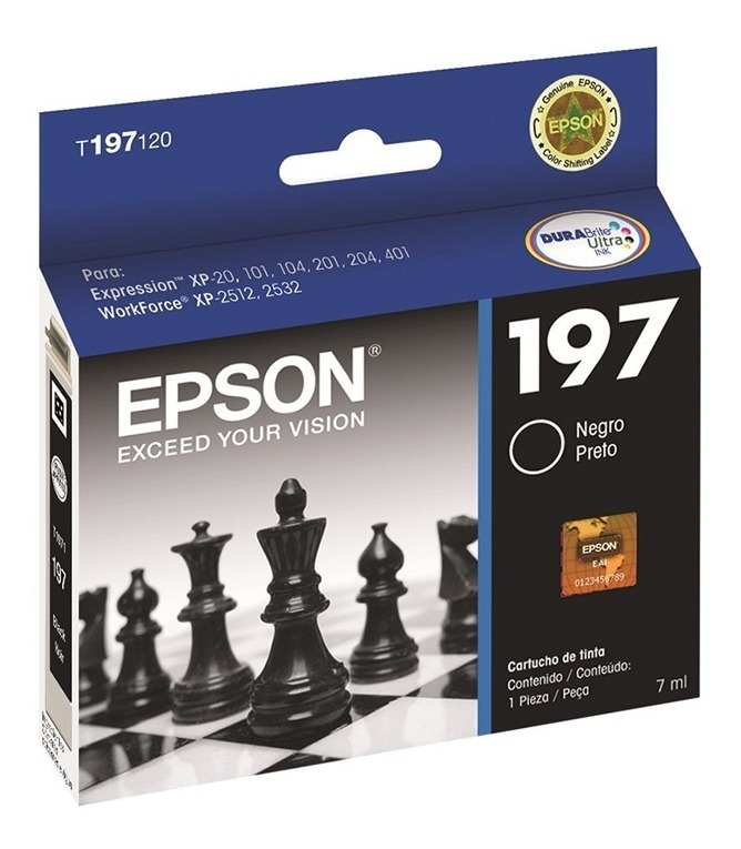 Cartucho Epson Negro 197 T197 T197120 Caja Original