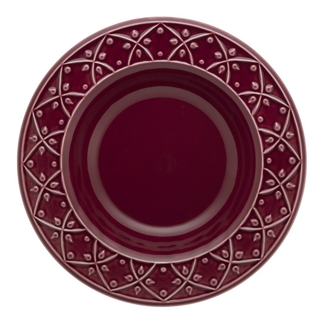Plato Hondo 23 Cm Ceramica Oxford Corvina Bordo Fino Relieve