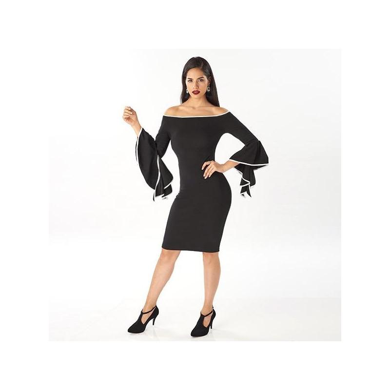 Vestido corto negro manga de olanes  014427