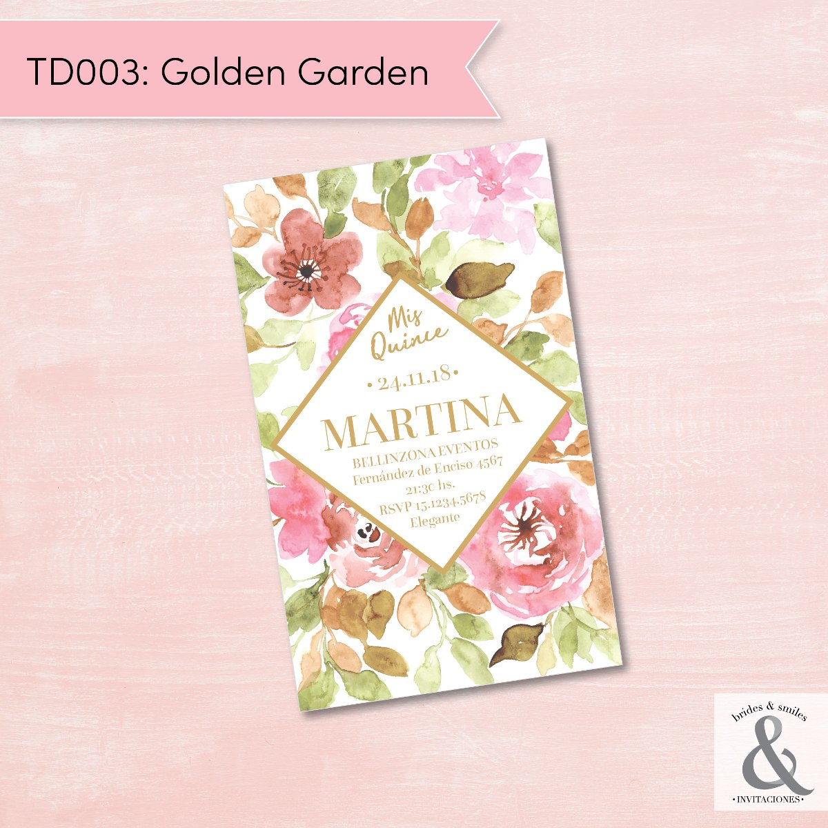 Invitación digital TD003 (Golden Garden)