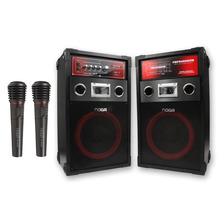 Combo Parlantes Mix Karaoke 120w + 2 Microfonos Inalambricos
