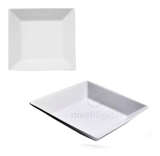Plato Hondo Cuadrado 21 Cm Porcelana Blanca Oxford