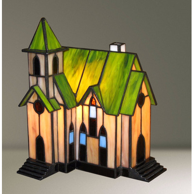 Lampara De Mesa Velador Tiffany Iglesia Apto Led