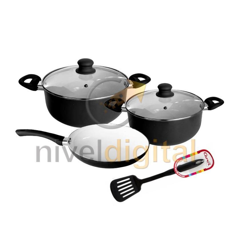 Kit 5 Pz Cocina Carol Ceramica Cacerola 18 20 Sarten 24 Espa