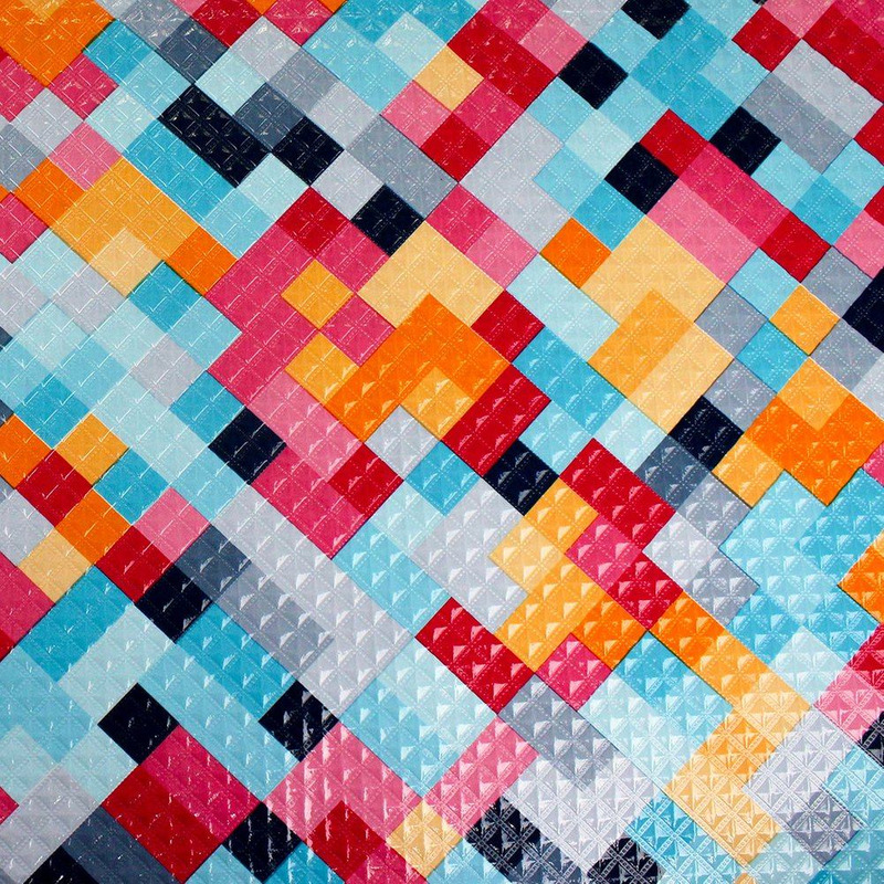 Tecido corino geométrico colorido - Larg. 1,40 m