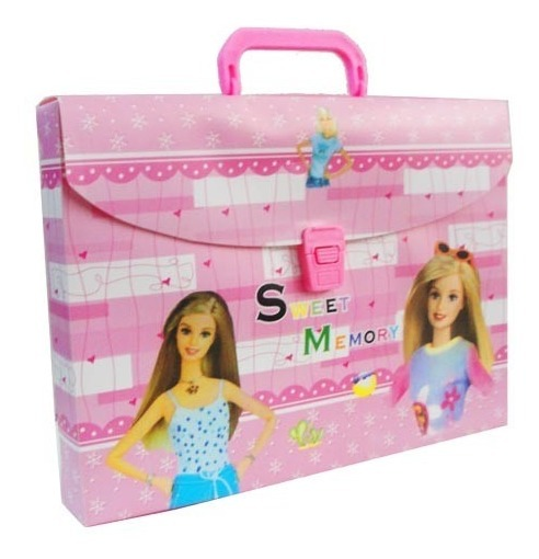 Valija Maletin Pvc Para Nenas Con Broche Manija Barbie Rosa