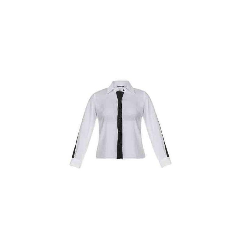 Blusa blanca manga larga con negro 014005