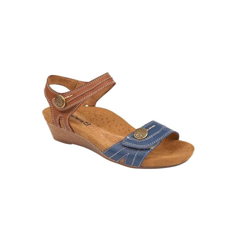 Sandalia plataforma azul con café 016713