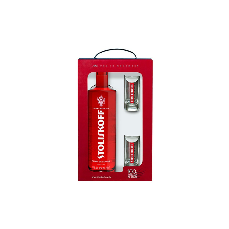 Kit Vodka Cereais + 2 copos - Stoliskoff