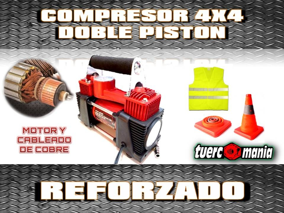 KIT 30 COMPRESOR DOBLE PISTON REFORZADO+CONO PLEGABLE+CHA...