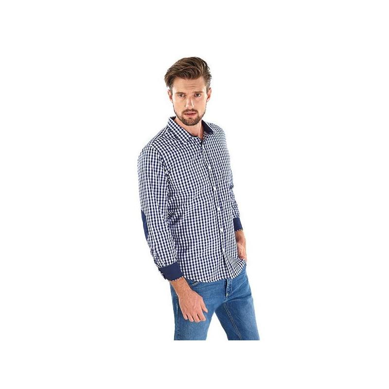 Camisa azul a cuadros manga larga 014580