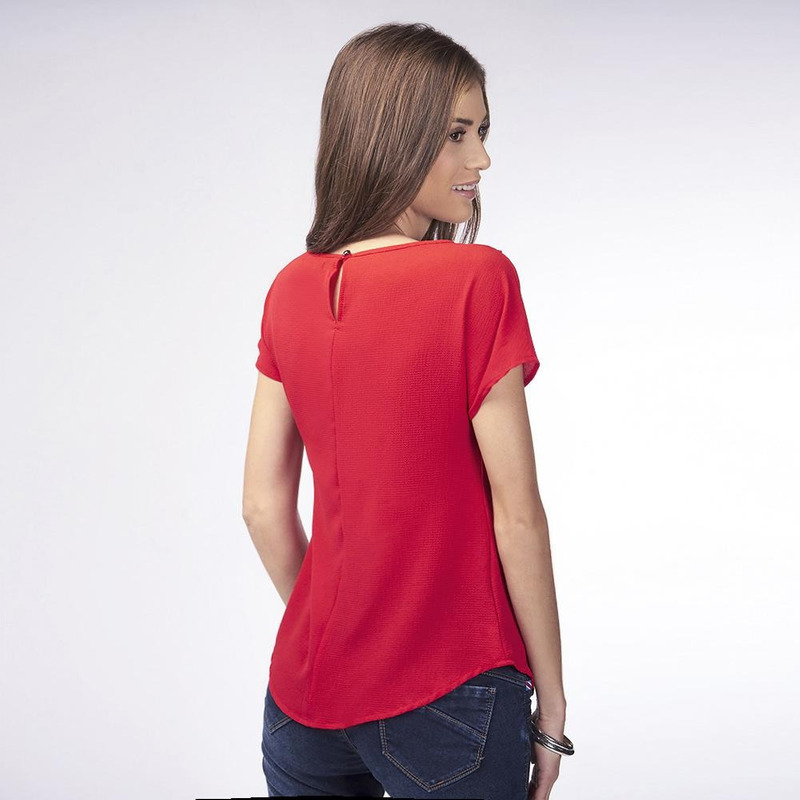 Blusa Roja Con Detalle Brillante 019470