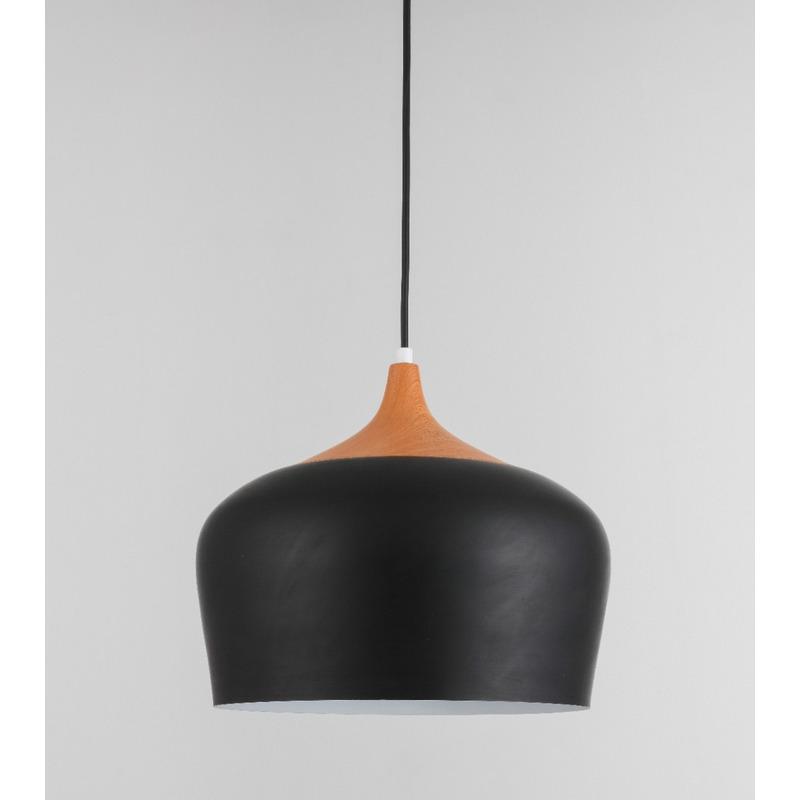 Lampara Colgante Moderno Negro Madera Vintage Apto Led Mks