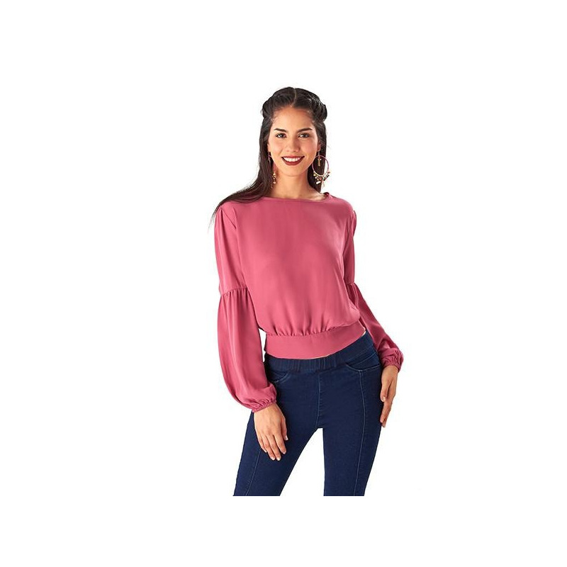 Blusa rosa manga larga con moño 014374