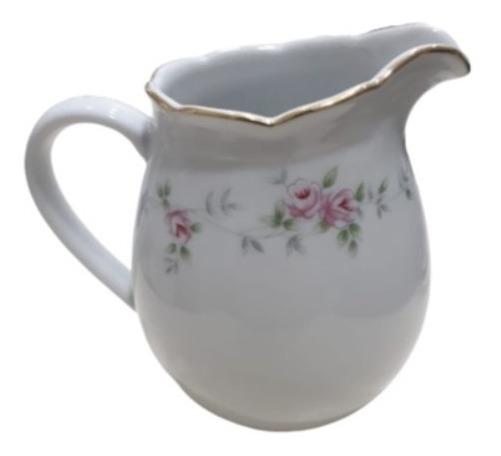Lechera De Porcelana Tsuji 1869 Flores Rosas Con Oro Diseño