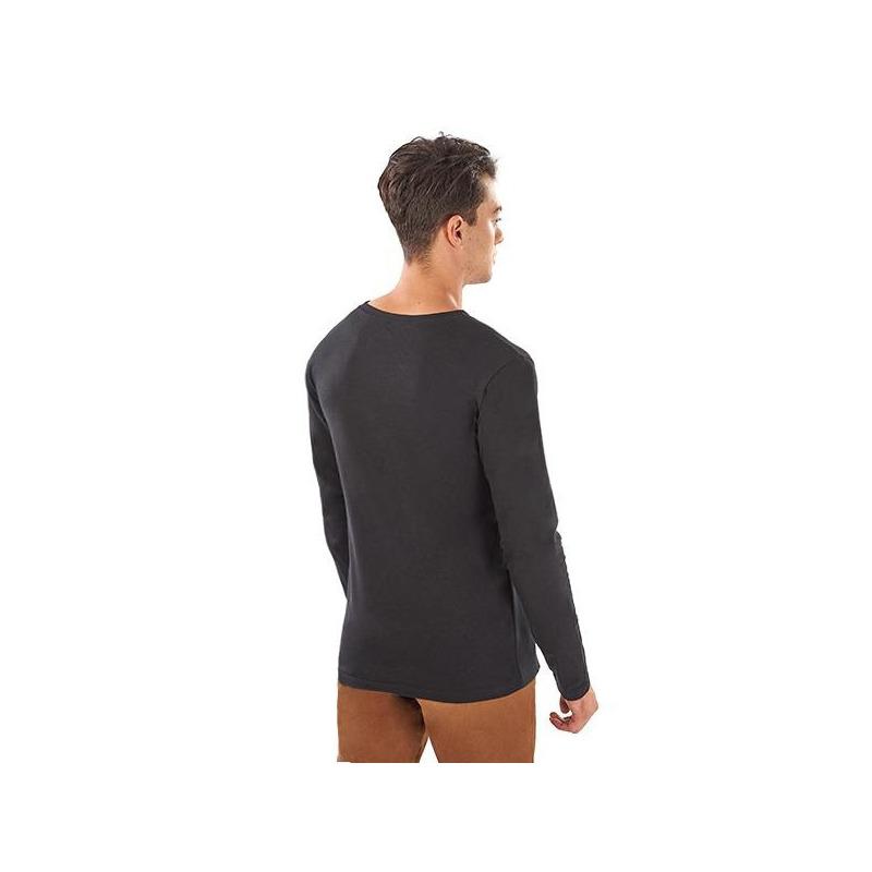 Camisa negra estampada manga larga 014590