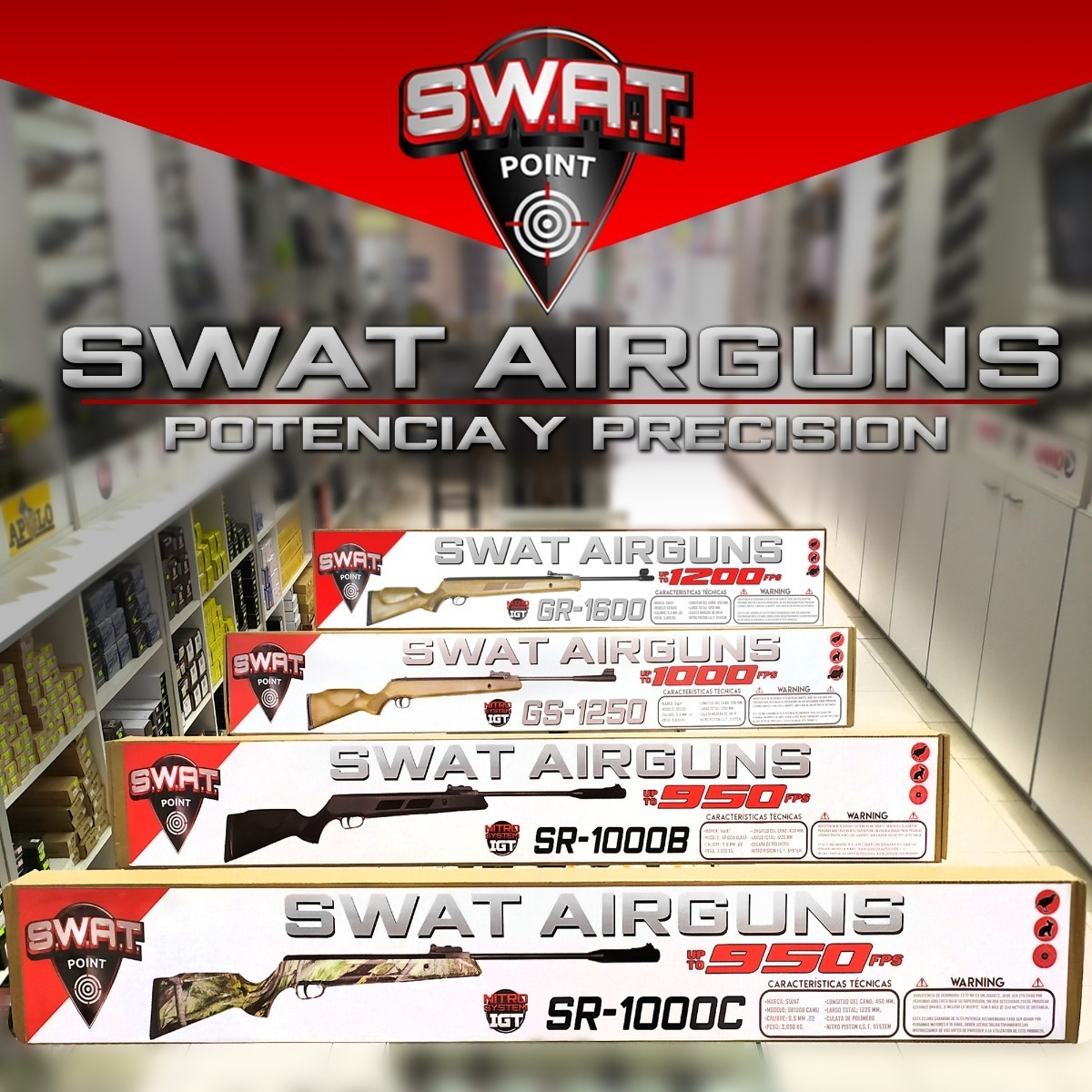 Rifle Aire Comprimido Swat Gs 1250 5.5 Nitro Piston Caza