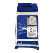 Cinta Tela Brother Tze-fa3 12mm Blanca Letra Azul