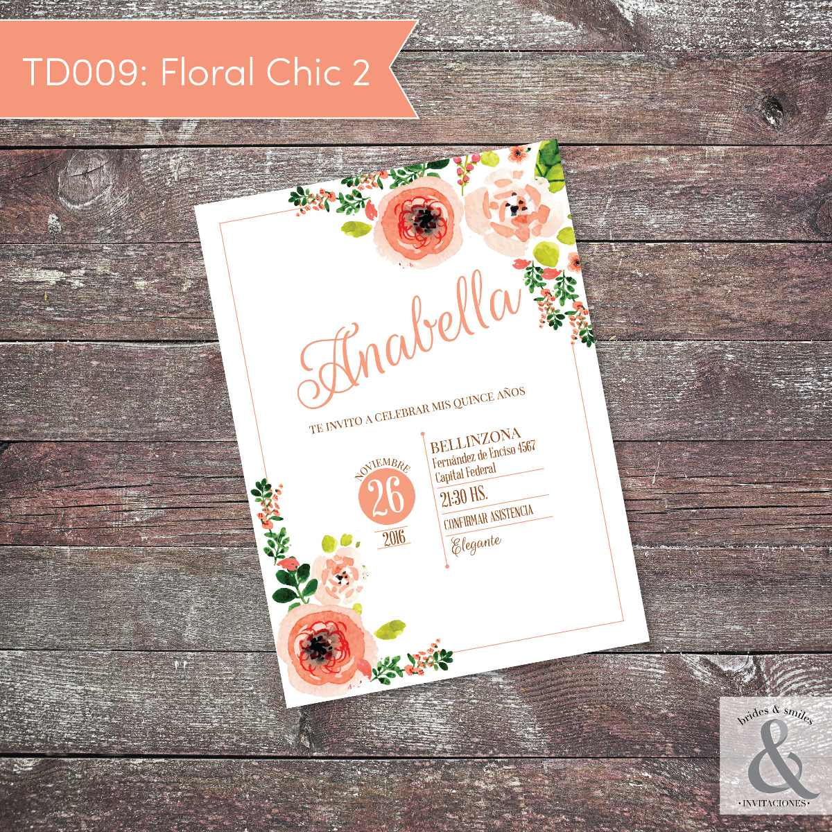Invitación digital TD009 (Floral Chic 2)