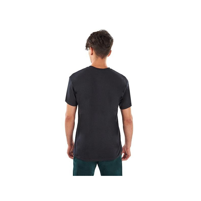 Camisa negra estampada manga corta 014607