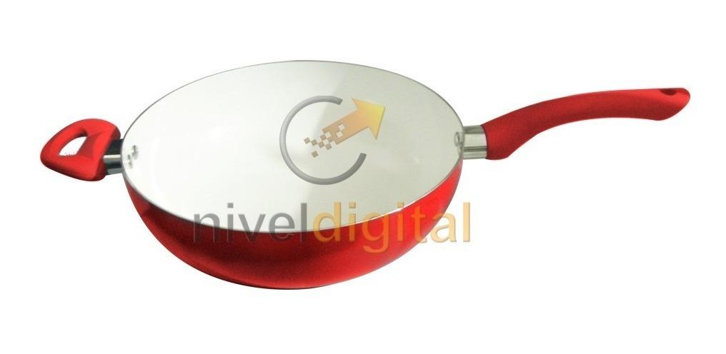 Wok Con Mango Y Asa 26 Cm. Carol Ceramica Antiadherente