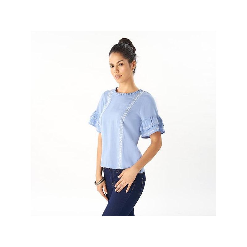 Blusa azul olanes manga corta 019125