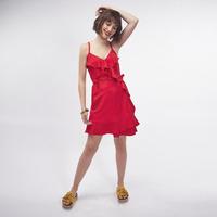 Vestido Rojo Con Olanes 019312