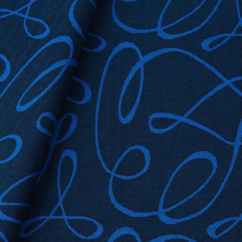 Tecido jacquard riscado - preto/azul - Impermeável - Coleção Panamá