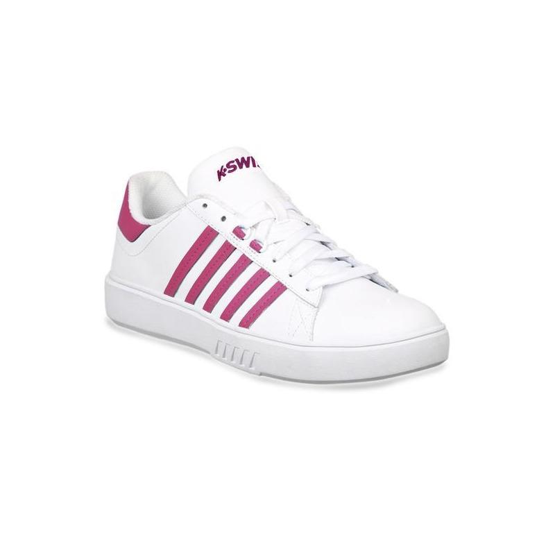 Sneakers K-Swiss blancos con franjas rosas K9F221