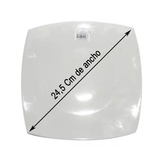 Plato Playo Cuadrado Blanco Corona Porcelana 24.5 Cm