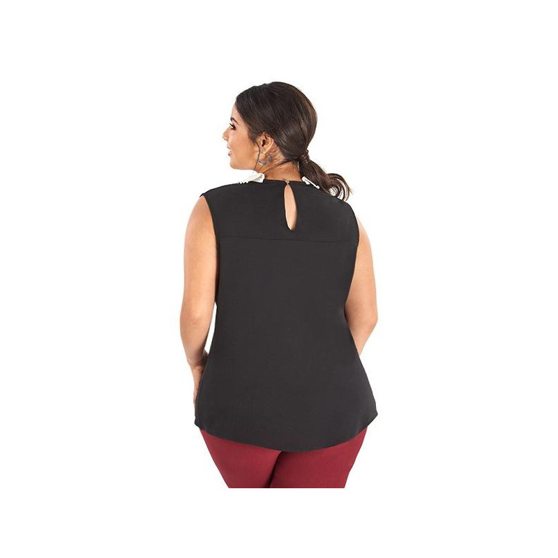 Blusa negra sin manga cuello blanco  014330P