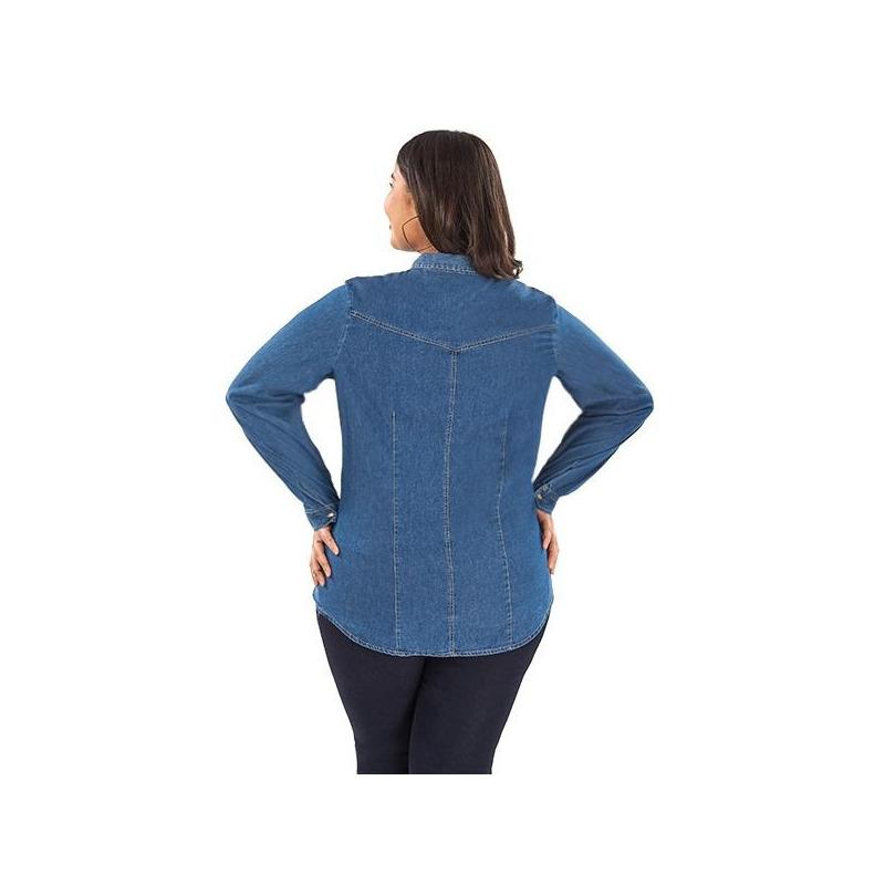 Blusa mezclilla con cuello y manga larga  014523P