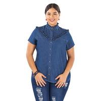 Blusa mezclilla con olanes y botones  014526P