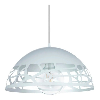 Colgante Semi Esfera Calado Oviedo Blanca Deco Moderno