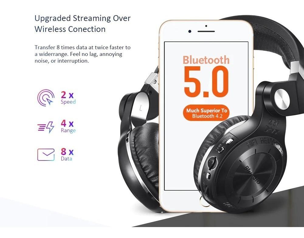 Auriculares Bluetooth Bluedio Original T2+ Plus Micro Sd Fm
