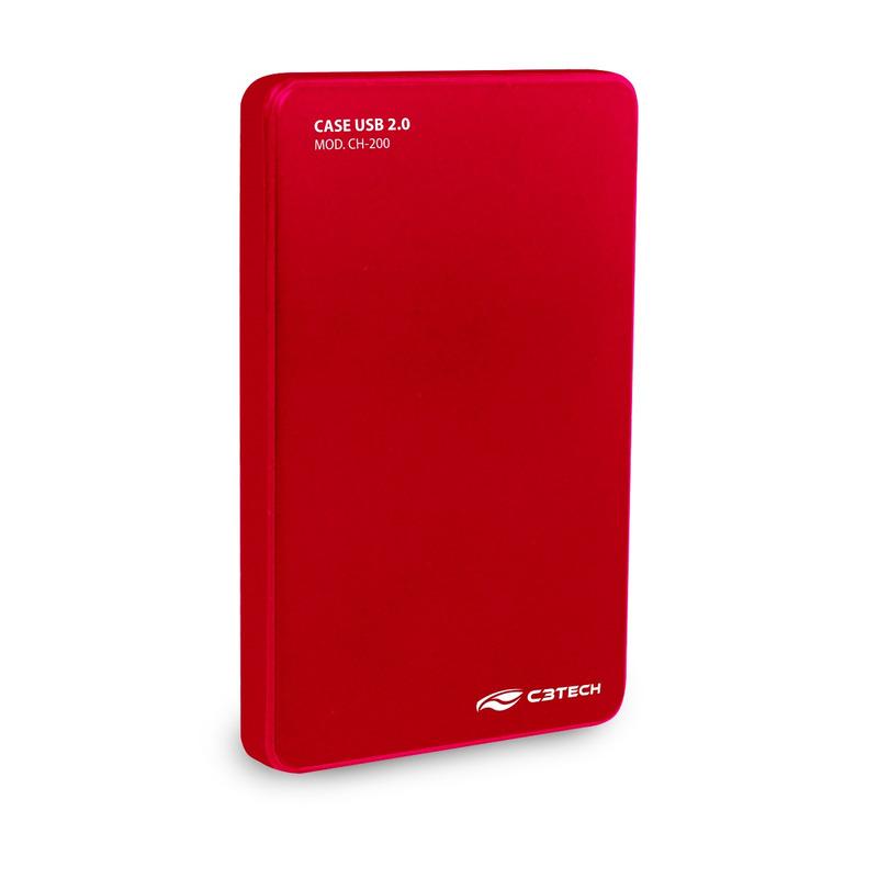 GAVETA HD EXTERNO 2,5 POL USB 2.0 C3TECH CH-200RD VERMELHO