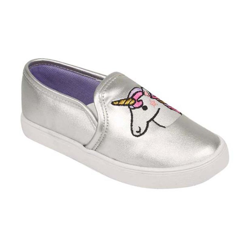 Sneakers plateados bordados 018557