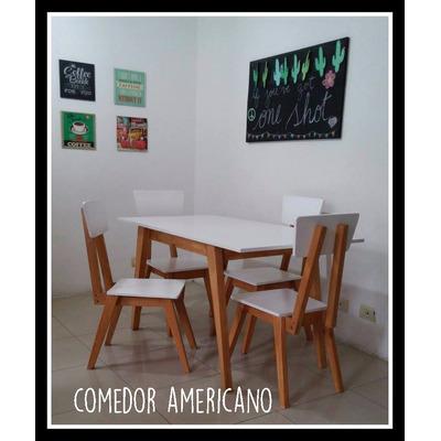 Juego de comedor mesa y sillas escandinavo americano retro for Comedor americano