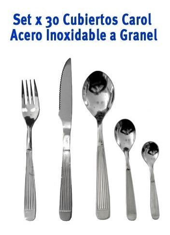 30 Cubiertos Carol De Acero Inoxidable Suelto A Granel