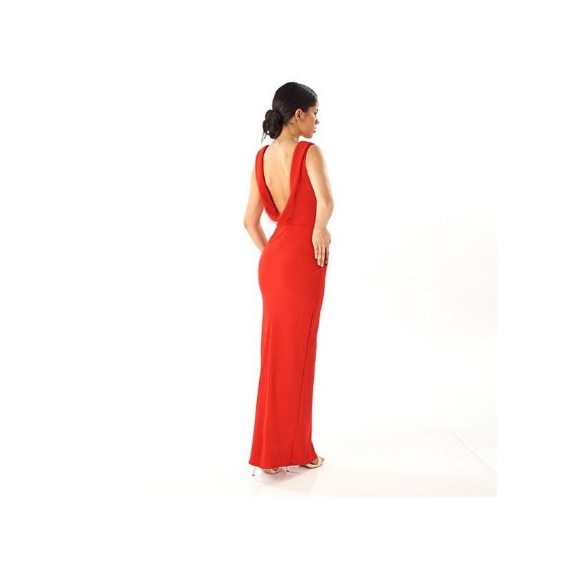 Vestido largo rojo escote en espalda  014507