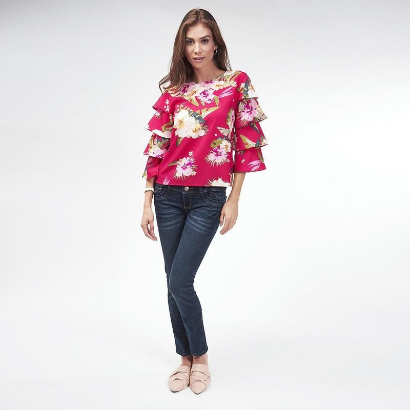 Blusa Roja Con Estampado Floral 017132