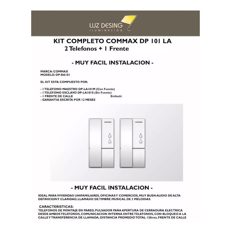 Kit Portero Electrico Commax Dp 101 La Frente + 2 Telefonos