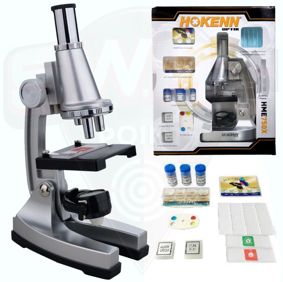 Microscopio Hokenn 750x Zoom Luz Accesorios Visor Niños Swat