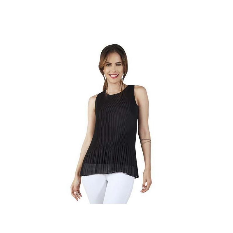 Blusa negra estampada en tablones  015175