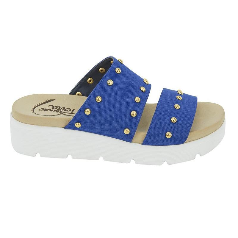 Sandalia De Piso Azul Con Perlas 020849