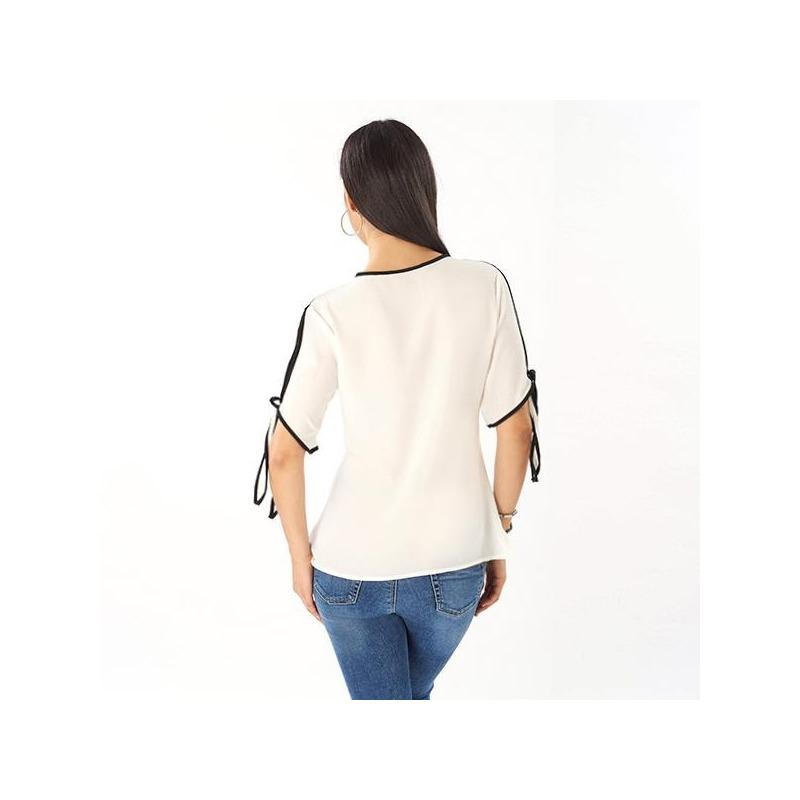 Blusa blanca lazo negro manga corta 014454