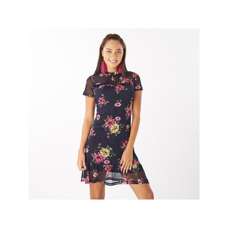 Vestido corto estampado con transparencia  014380