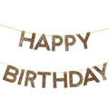 Guirnalda Happy Birthday brillantina dorada Grande